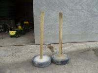 wooden fence post in concrete filled tyre Suit electric fence corner, horse jump, many uses.