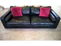 Marks & Spencer Black soft leather sofa couch in VGC delivery Poss