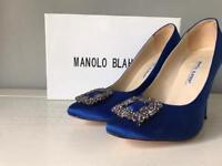 Manolo Blahnik Hangisi Royal Blue Pumps Sz 6 39
