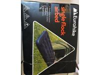 Single flock air bed and sleeping bag