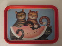 Vintage kitsch metal tray