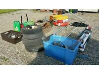 Garage sale including 2.5 working outboard and boat bits
