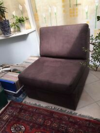Chocolate brown soft chair pull out single bed