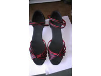 black and red silk dance shoes - new