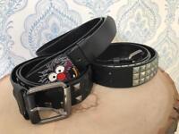 Leather belt x3 Men's medium