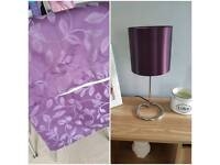 Purple lamp and curtains