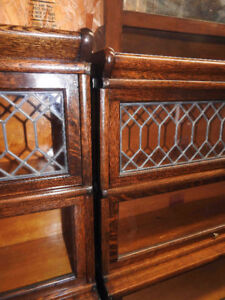 antique barrister bookcases, step back,lead, drawer, priced EACH