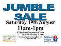 Jumble Sale Poplar E14 19th August 11am - 1pm