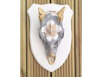 Hand painted Fallow Pricket Deer Skull