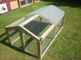 rabbit/guinea pig hutch half covered half open