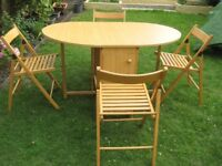 Beech Wood Gateleg Dining Room Table and 4 Matching Wooden Folding Chairs for £55.00 and no offers