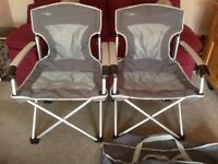 2 x Hi Gear FC 422 Aluminium Lightweight Extremly Sturdy Never Used Folding Camping Chairs