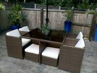 Rattan Cube Outdoor Table & Chairs