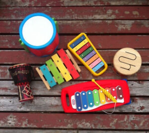 Children's or experimental percussion collection.