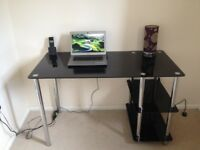 Black glass and Chrome computer desk. Excellent condition