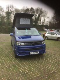VW T5 transporter camper van with pop up roof