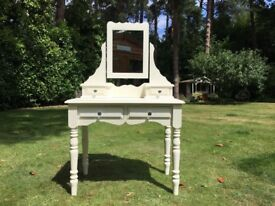 Hand Painted Solid Pine Dressing Table & Mirror In Ivory