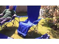 2 x reclining camping chairs with footrests, relax and enjoy the rest of the summer