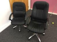 2 x adjustable leather office chairs