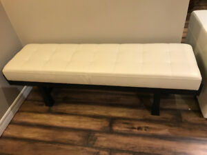 Real Leather Asian Design Ottoman / Bench