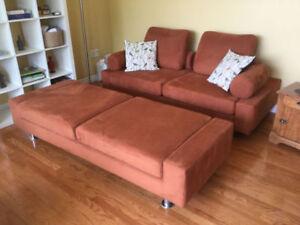 Funky Orange 3-piece Couch Set