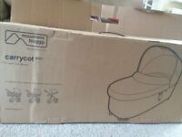 Carrycot PLus for Swift and MB Mini. Includes Storm Cover, Less than a year old!