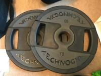 2 x 10kg Technogym Olympic weights