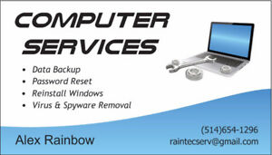 Computer Services / Virus Removal / Reinstall Windows / Backup..