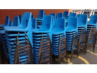 250 blue plastic linkable chairs, perfect for a community group, good seats, legs slightly worn