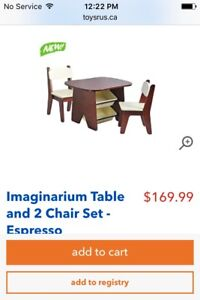 Table, chairs and book sling