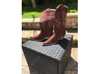 Brown suede cowgirl boots