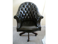 Green Leather Large Directors Chesterfield Captains Swivel Office Desk Chair