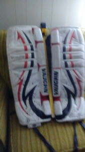 Goalie pads, glove, blocker