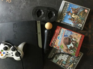 PS3, 1 move controller & eye, few games, with controllers