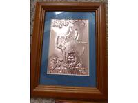 dark oak framed copper emboissed pictures