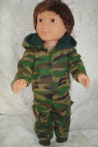 "18 "" Boy doll, camoe jogging outfit, 4 pieces"