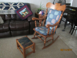 Solid Oak Rocking Chair and oak ottoman