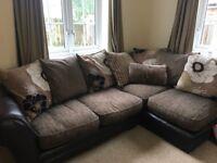 Corner sofa plus 2 seater and footstool