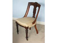 Victorian walnut parlour bedroom chair upholstered carved wooden antique