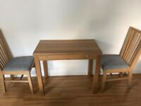 Extendible Dining Table and Two Chairs