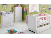 White Nursery Furniture Set - cotbed, wardrobe, drawers / changer