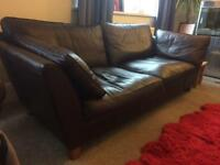 Brown Leather Sofa M&S