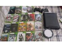 Xbox 360, wires, games(black ops, halo and more), two controllers