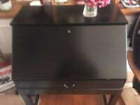 IKEA Black/Brown HEMNES old fashioned desk fold out with storage stool/bench & bedside table set