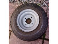 WIDE 8 INCH TRAILER WHEEL AND TYRE 16.5 X 6.50 - 8 (64 M) DURO GOOD TYRE