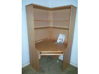 John Lewis Home Office Corner desk workstation + shelving / bookcase unit