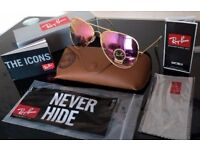 FREE DELIVERY TODAY! RAYBANS PINK POLARISED AVIATOR SUNGLASSES make up