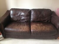 FREE Brown Leather 3 seater sofa