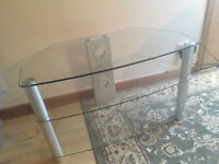 Glass TV corner stand with crome legs
