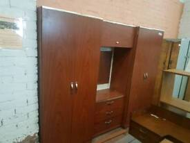 Large triple bedroom wardrobe set with mirror